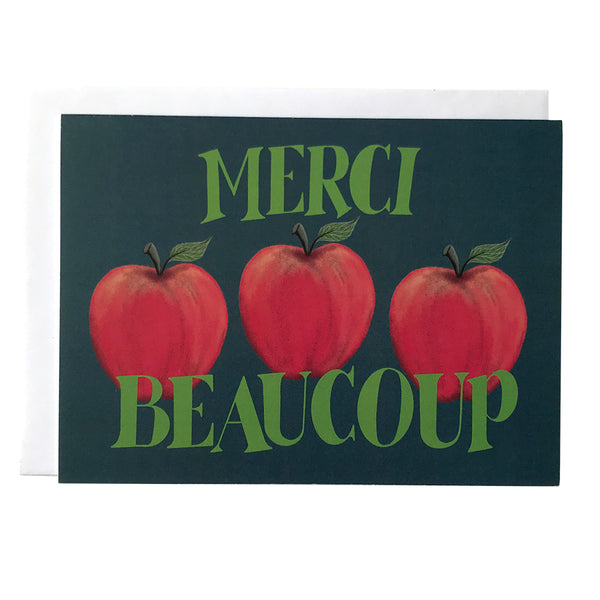Merci Beaucoup Apple Thank You Card