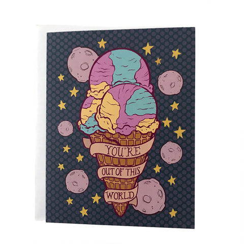 Moon Mist Ice Cream Cone You're Out of This World Card
