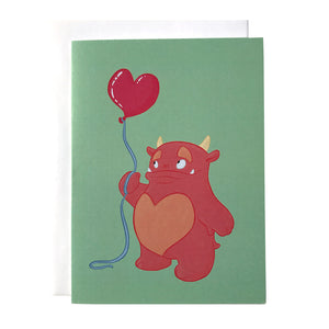 Monster and Heart Balloon Mother's Day or Father's Day Card