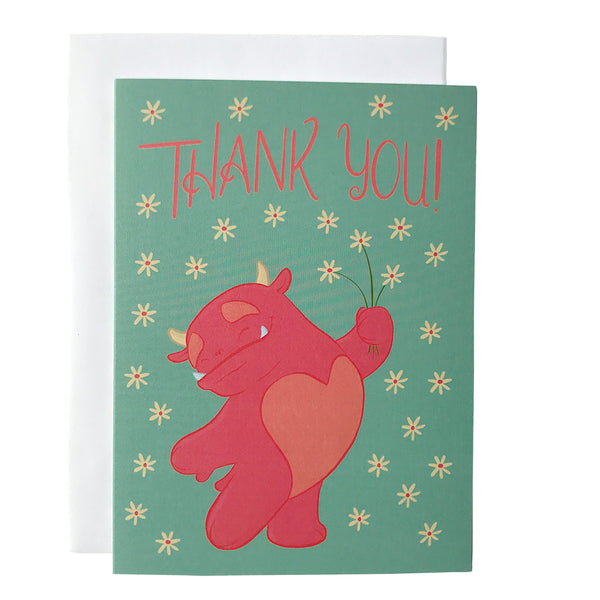 Monster Thank You Flowers Card