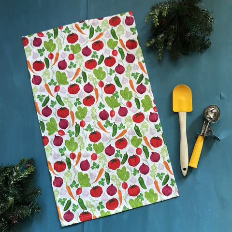 Vegetable Garden Colourful Linen-Cotton Canvas Tea Towel