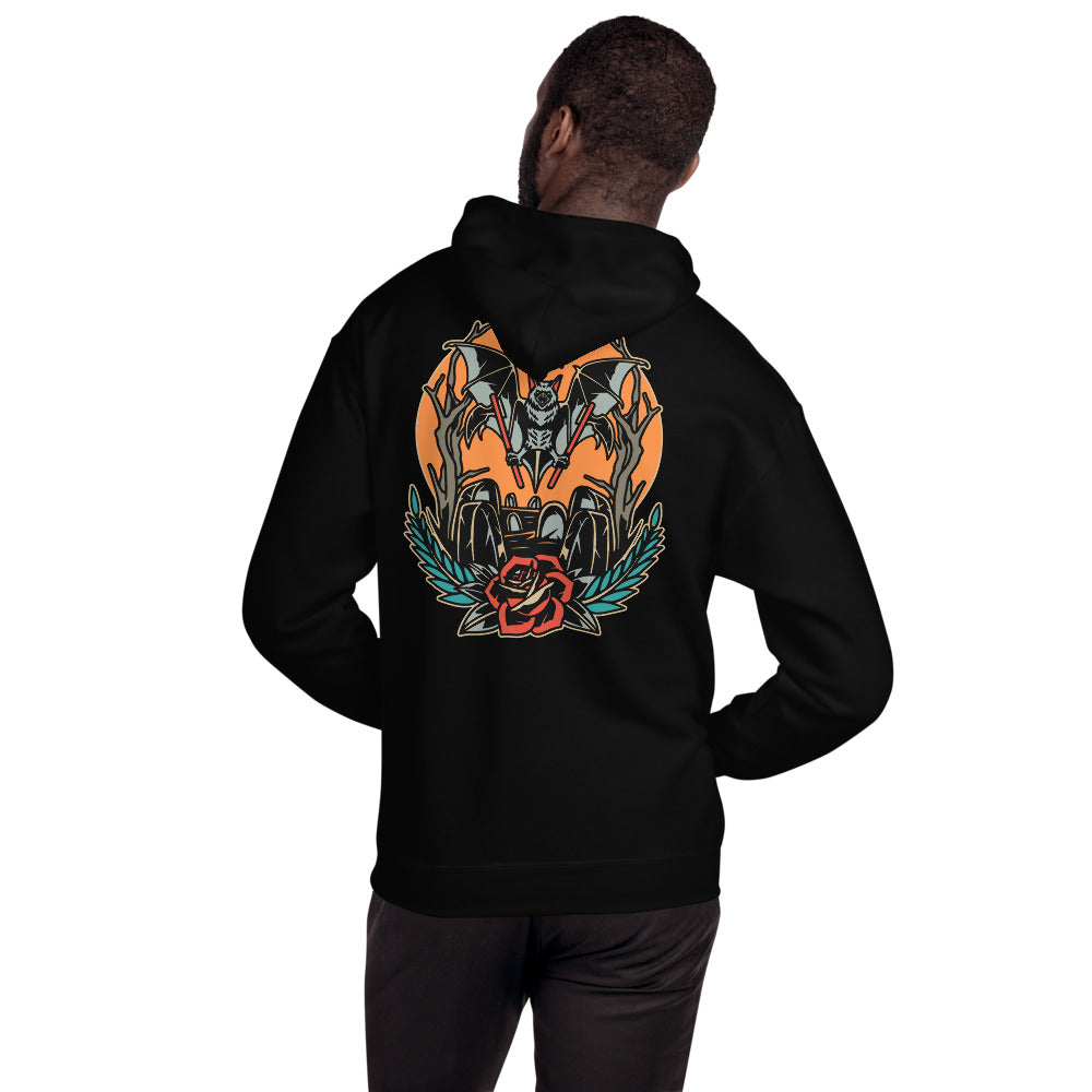 Coffin Front and Back Hoodie | Happy Bat Hot Sauce