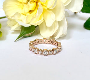 Bezel Set Diamond Rose Gold Stacking Ring