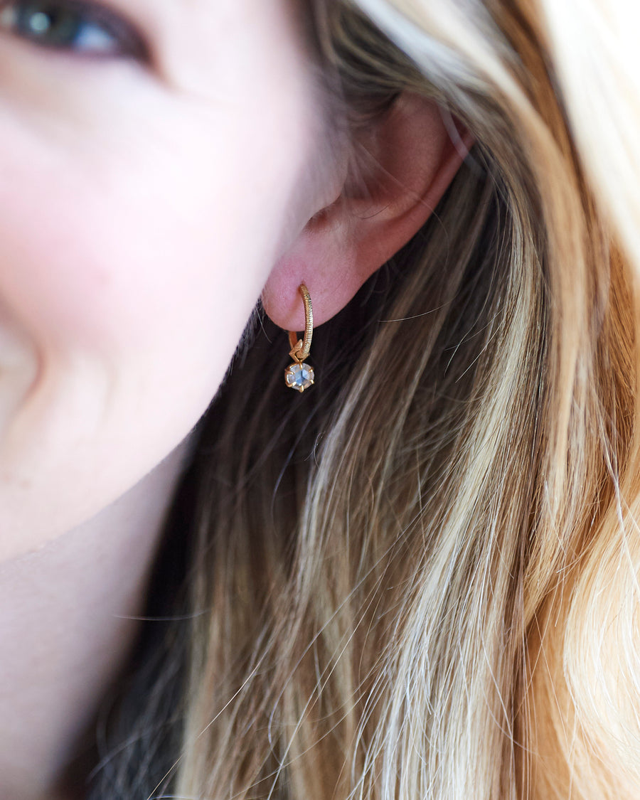 Old Mine Cut Diamond Rose + Thorn Earring Drop