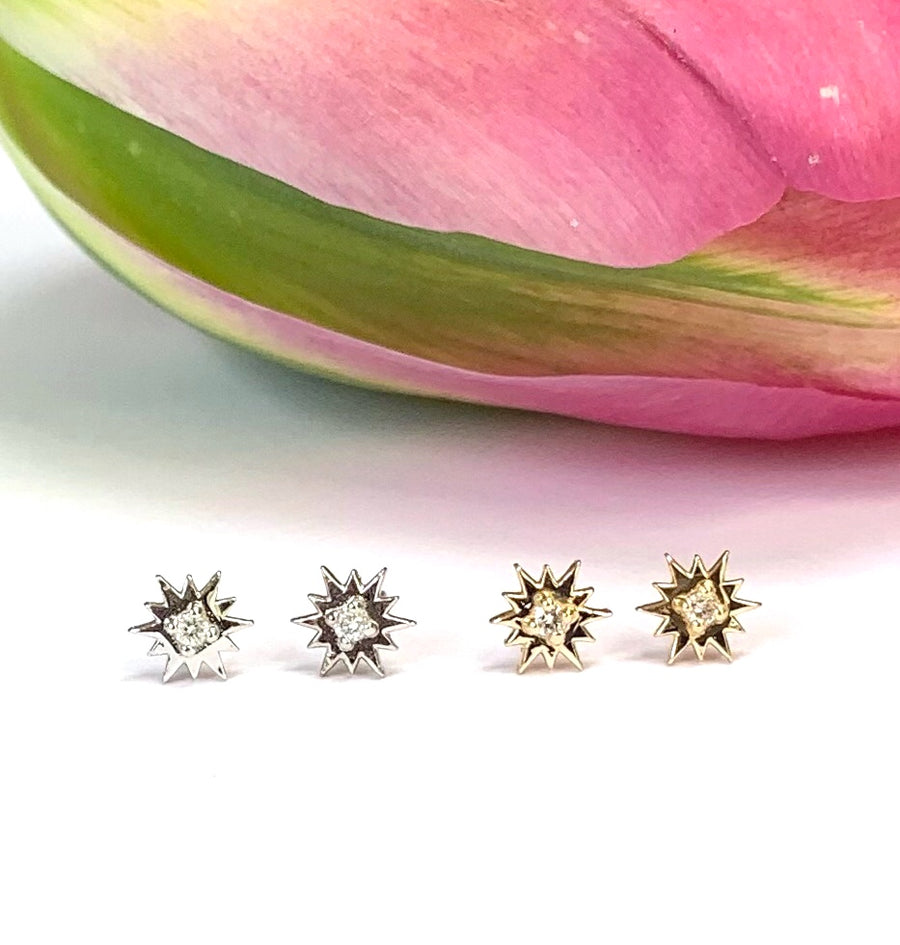 White Gold Shooting Star Earrings