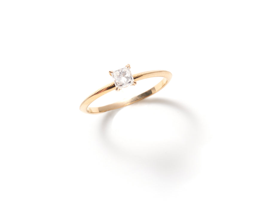 Thistle Ring with Princess Cut Diamond