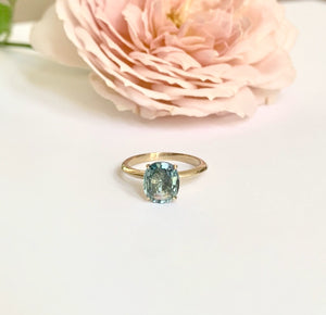 Thistle Ring with Teal Sapphire