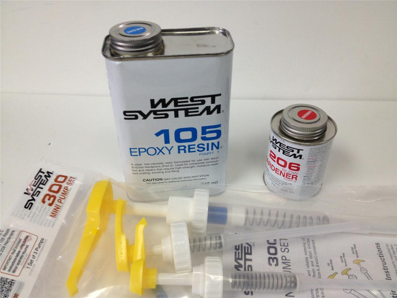 West System Epoxy Kit, 105 Resin, 206 Slow Hardener and Pumps