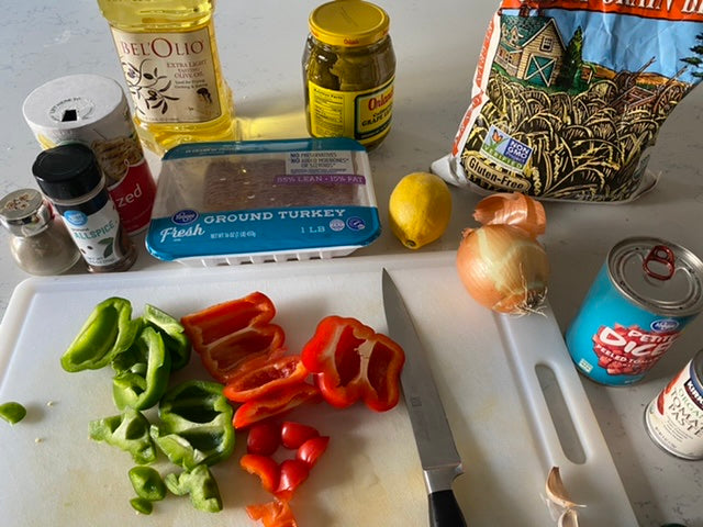 Ingredients for deconstructed stuffed bell peppers