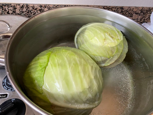 Boil cabbage for sarma