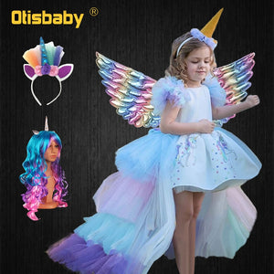 Christmas Girls Unicorn Dress with Long Tail, Wings and Wig. Perfect