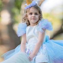 Load image into Gallery viewer, Christmas Girls Unicorn Dress with Long Tail, Wings and Wig. Perfect