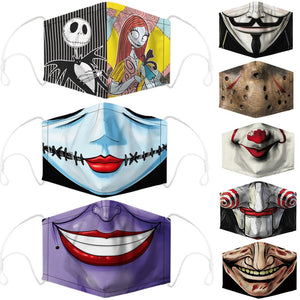 Halloween The Nightmare Before Christmas V Scary It Cosplay Face Mask Adult Dust Protection Masks Prop