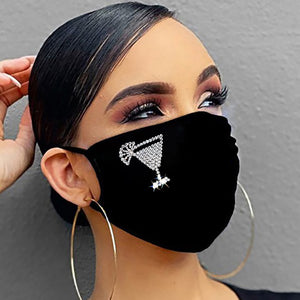Reusable Mouth Masks For Women Men Face Cover Bling Luxury Sequins Masks With Drill Prints Ice Cotton Dustproof Anti Fog Masks