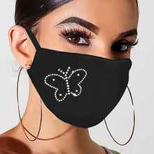 Load image into Gallery viewer, Reusable Mouth Masks For Women Men Face Cover Bling Luxury Sequins Masks With Drill Prints Ice Cotton Dustproof Anti Fog Masks