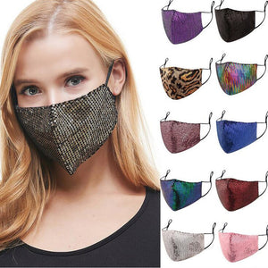 Women Sequins Bling Washable Face Mouth Masks Men Fashion Leopard Adjustable Dustproof Face Shield Foggy Haze Pm25 Mouth Muffle