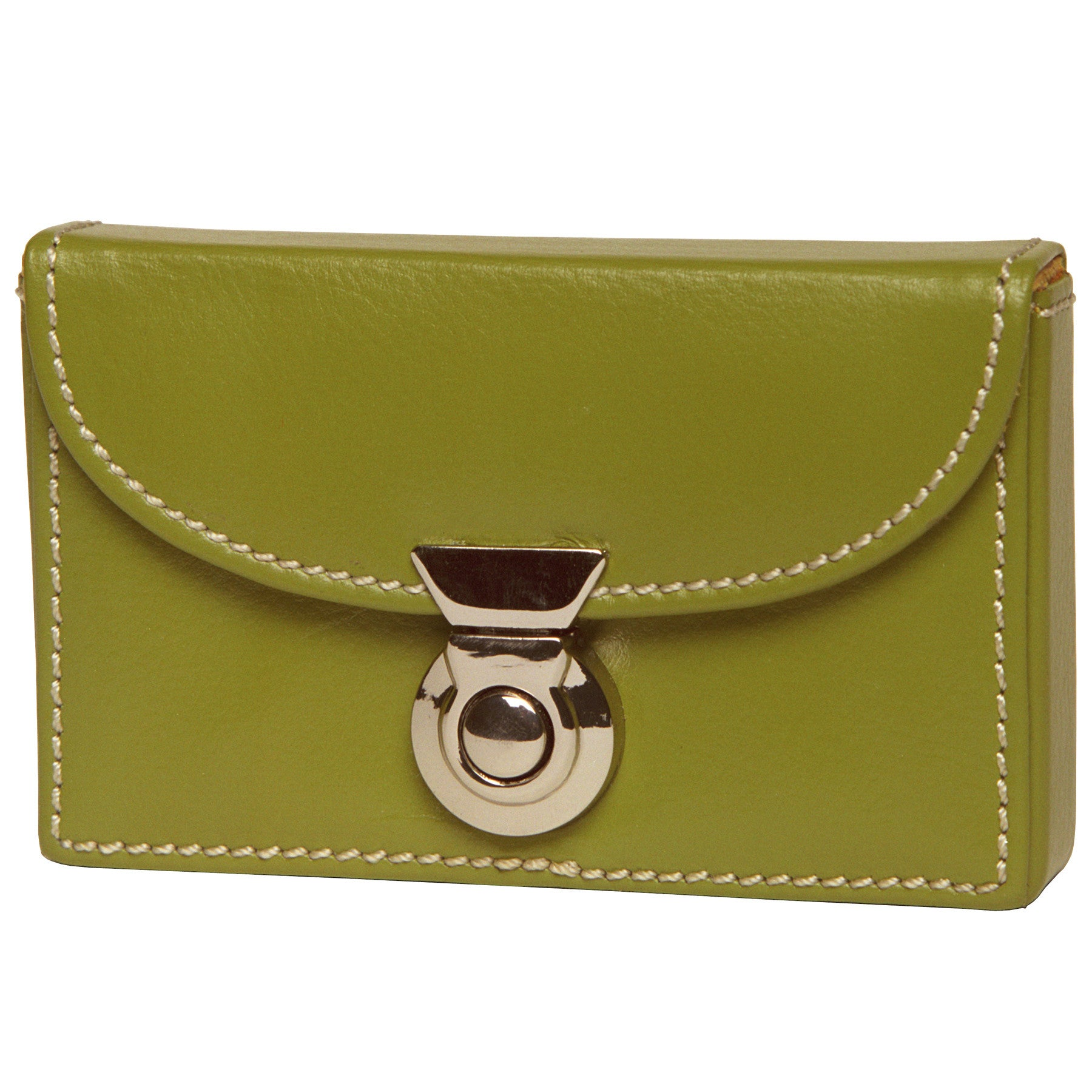 Alicia Klein leather card holder, olive green