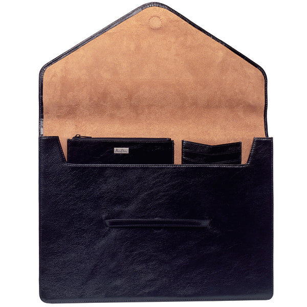 Alicia Klein large leather envelope, black, interior view