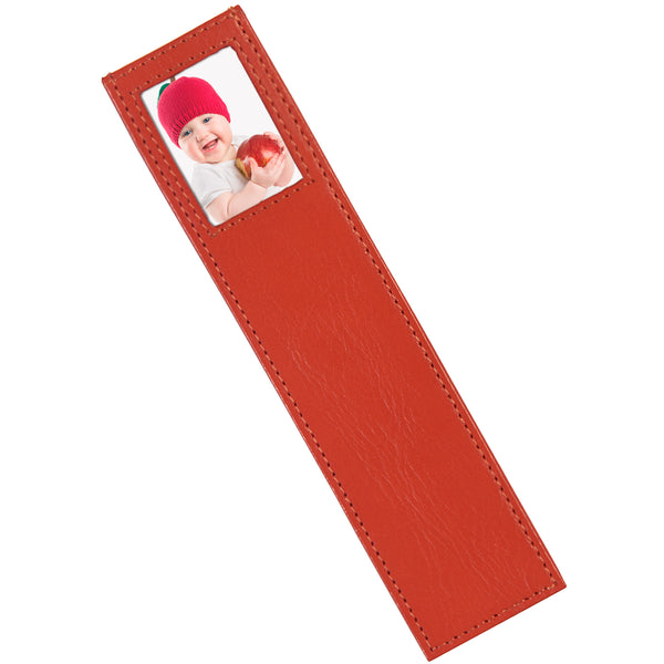 Alicia Klein leather photo bookmark, Tangelo orange