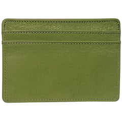 Alicia Klein leather card holder, olive green, back view