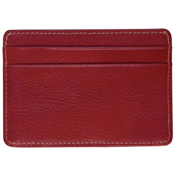 Alicia Klein leather card holder, pomegranate red, back view