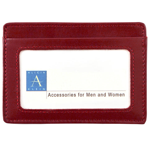 Alicia Klein leather card holder, pomegranate red