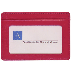 Alicia Klein leather card holder, watermelon pink