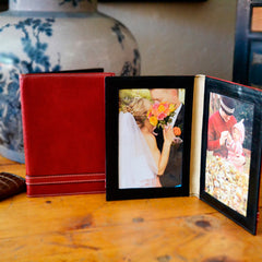 Alicia Klein sale leather photo frames, Pomegrate red