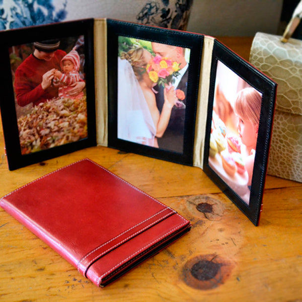Alicia Klein sale leather photo frames, Pomegranate red
