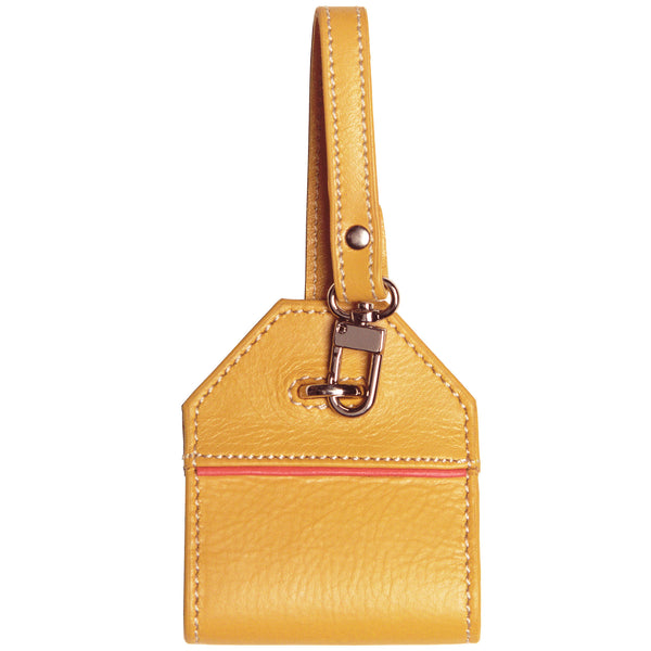 Alicia Klein leather luggage tag, black, Mustard yellow