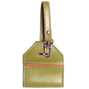 Alicia Klein leather luggage tag, Olive green