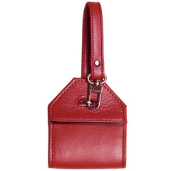 Alicia Klein leather luggage tag, Pomegranate red