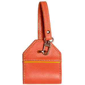Alicia Klein leather luggage tag, Tangelo orange