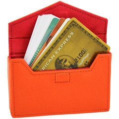 Alicia Klein leather card holder, orange, interior view