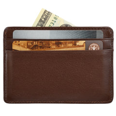 Alicia Klein leather card holder, espresso brown, back view