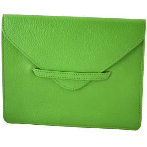 "6.75"" x 5.5"" GRASS GREEN Leather Envelope for Receipts, Phone, or Travel Docs"
