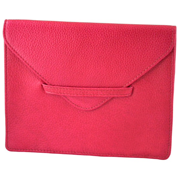 "6.75"" x 5.5"" PEONY PINK Leather Envelope for Receipts, Phone, or Travel Docs"