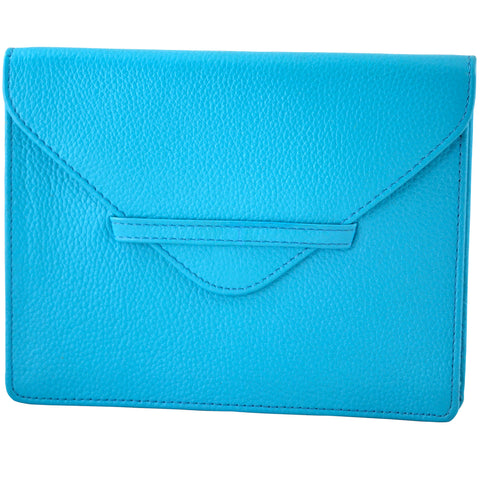 "6.75"" x 5.5"" TURQUOISE Leather Envelope for Receipts, Phone, or Travel Docs"