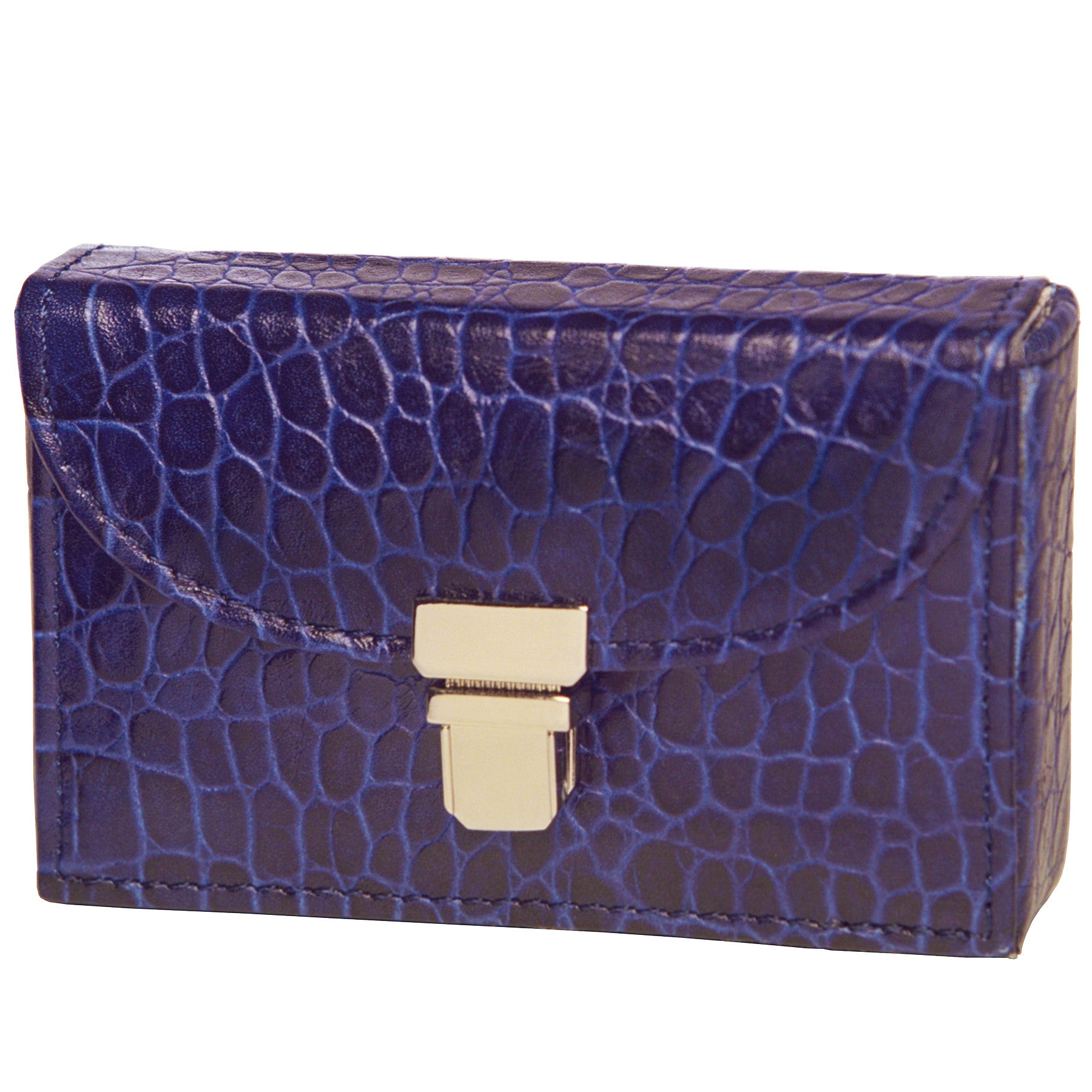 Alicia Klein leather card holder, sapphire blue croco print