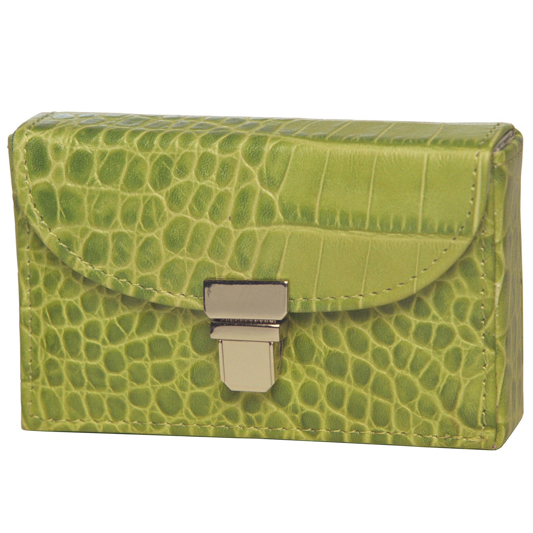Alicia Klein leather card holder, turtle green croco print