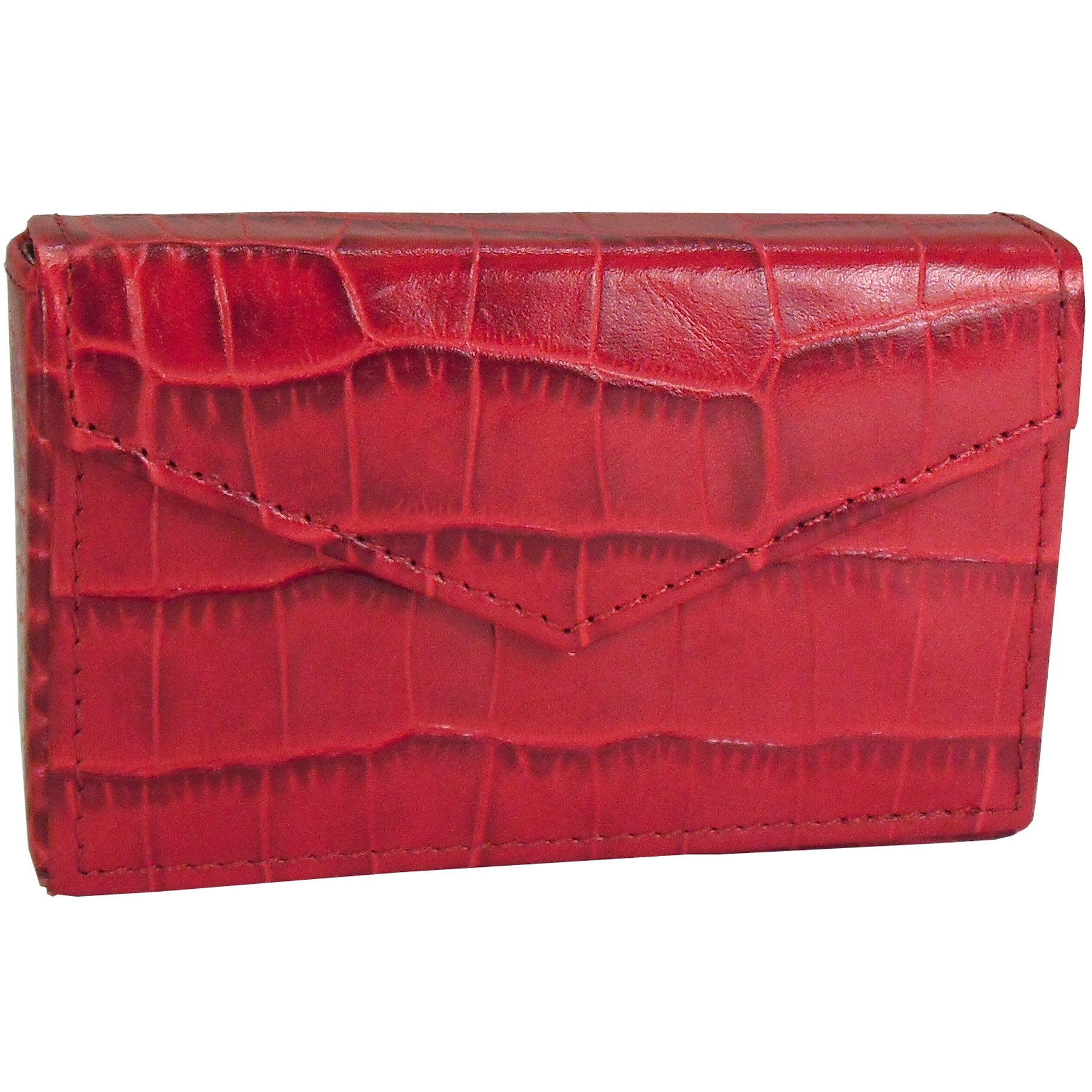 Alicia Klein leather card holder, red croco print