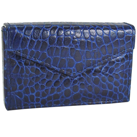 Business Card Envelope - Sapphire Blue Croco