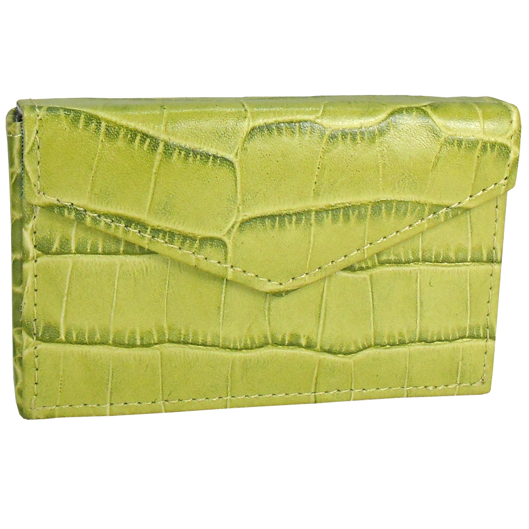 Alicia Klein leather card holder, turtle green