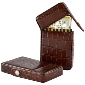 Alicia Klein leather card holder, dark chocolate brown croco print