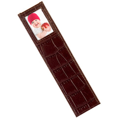 Alicia Klein leather photo bookmark, dark chocolate croco
