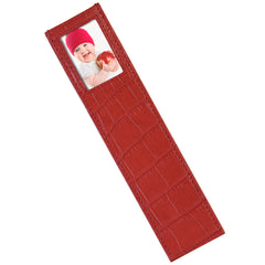 Alicia Klein leather photo bookmark, red croco print