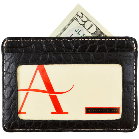 Alicia Klein leather card holder, black croco print