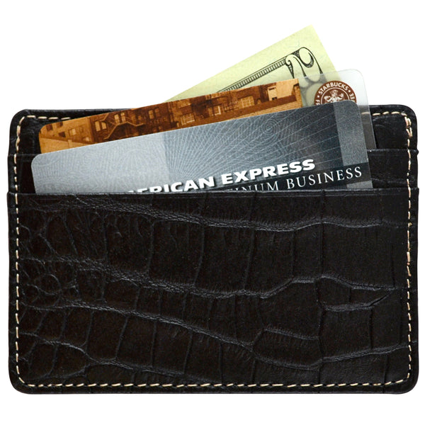 Alicia Klein leather card holder, black croco print, back view