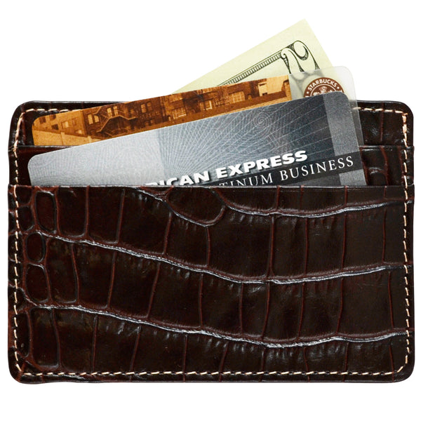 Alicia Klein leather card holder, dark chocolate brown croco, back view