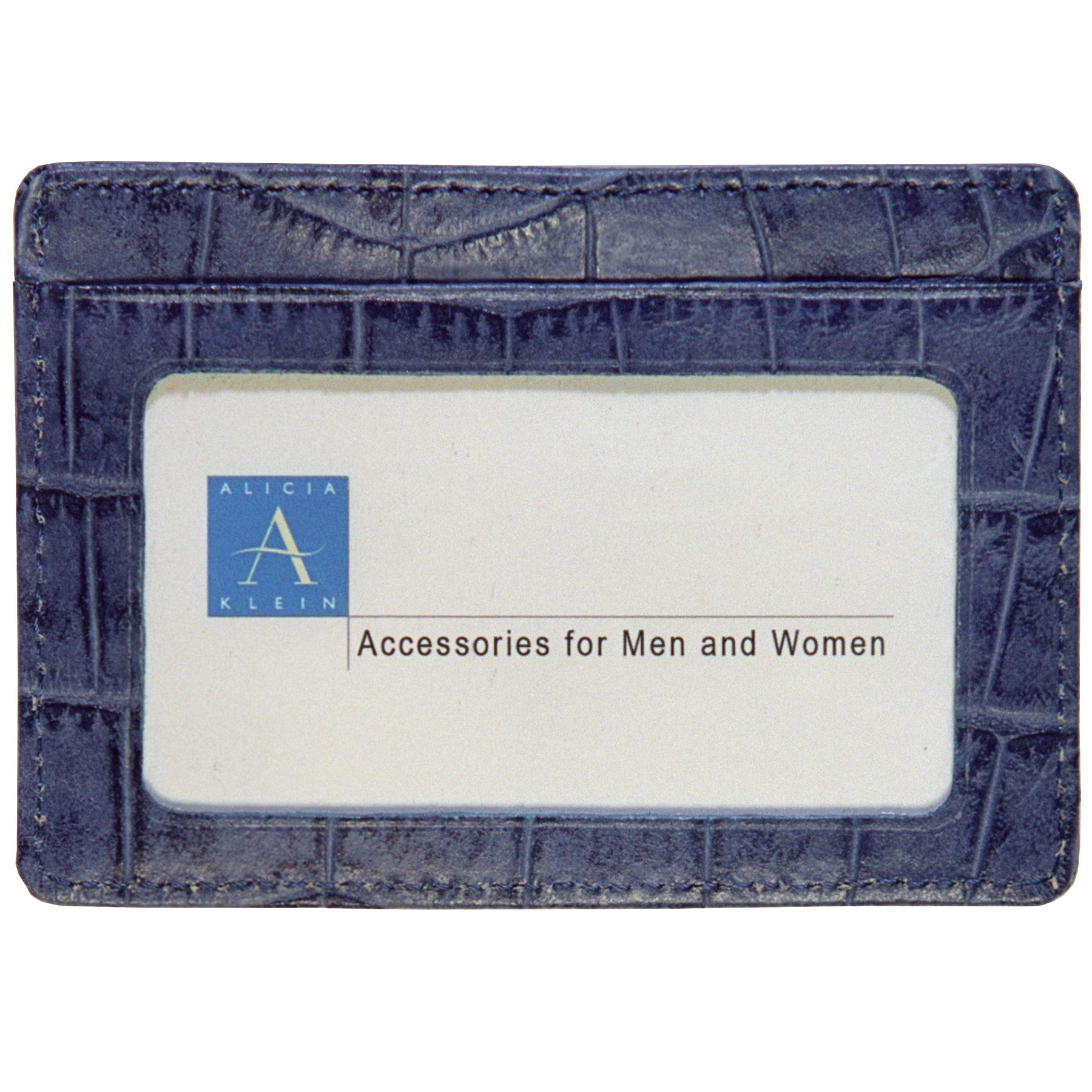 Alicia Klein leather card holder, denim blue croco
